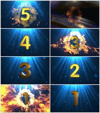 蓝色震撼火焰5秒倒计时视频