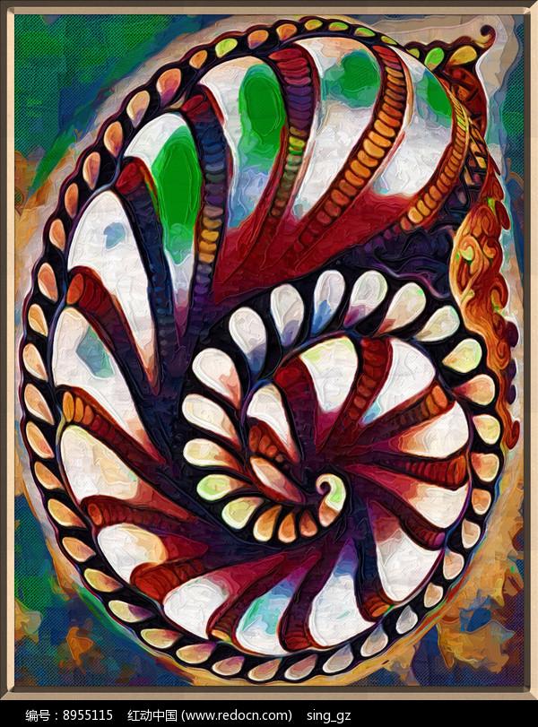 螺旋抽象油画图片