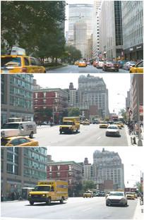 美国纽约城市路边街景风光视频