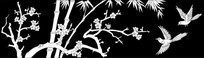 梅花竹子鸟雕刻图案