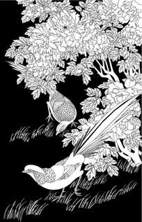 牡丹鸟雕刻图案