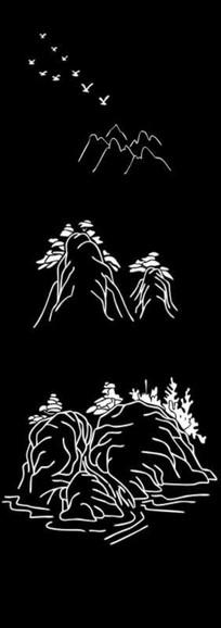 山水画风景雕刻图案