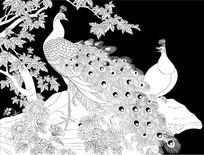 双雀呈祥雕刻图案