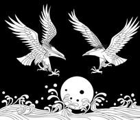 双鹰戏水雕刻图案