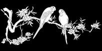 桃花小鸟雕刻图案