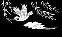 祥云小鸟雕刻图案