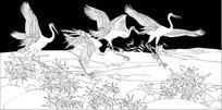 仙鹤展翅雕刻图案