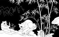 熊猫雕刻图案