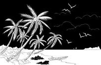 椰子风景雕刻图案