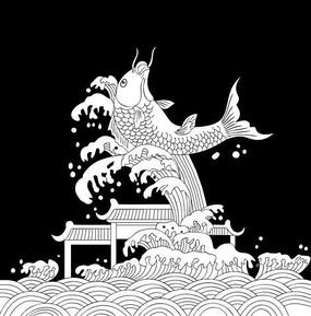 鱼跃龙门雕刻图案