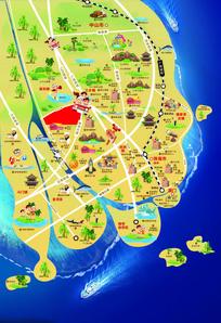 中山生活手册卡通旅游地图 PSD