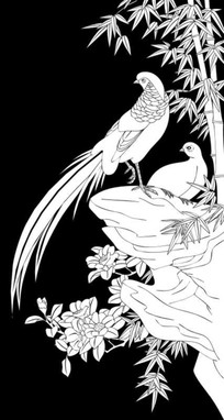 竹子鸟雕刻图案