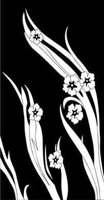 紫兰花雕刻图案