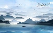 简约中式大气山水电视背景墙
