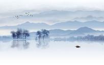 中式大气山水背景墙装饰画