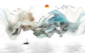 中式水墨山水抽象背景墙装饰画