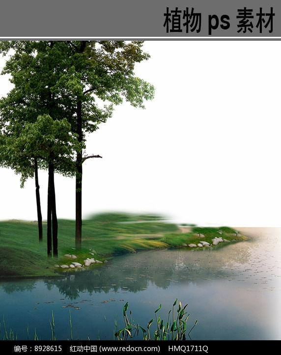 滨水景观前景ps分层素材图片