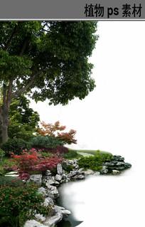 滨水园路植物配置ps分层素材
