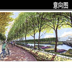城市开放区滨水景观手绘