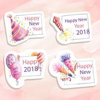 卡通创意新年祝福标签贺卡