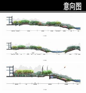 某河道景观剖面图