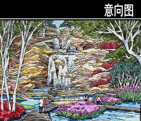 某河生态走廊动物园廊桥手绘图