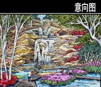 某河生态走廊动物园廊桥手绘图 JPG