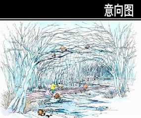 某河生态走廊动物园树林手绘图