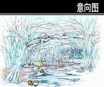 某河生态走廊动物园树林手绘图 JPG