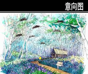 某河生态走廊动物园小木屋手绘