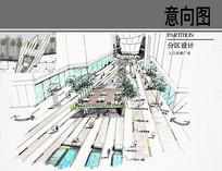 某商业街入口动感广场手绘图