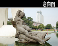 女人骑鱼水上雕塑小品