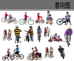 骑着自行车的小孩素材 PSD