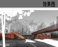 现代公共建筑景观效果图