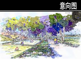 西南角公园观光农田手绘 JPG