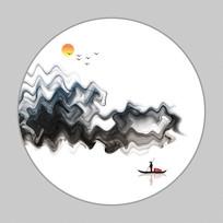新中式意境山水装饰背景墙挂画