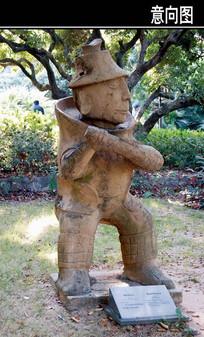 戏球的人雕塑小品
