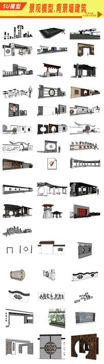 园林景观景墙建筑模型