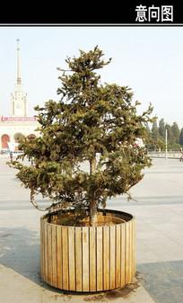 圆形木制花池 JPG