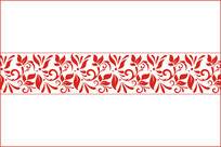 中国红创意勾线花纹图案