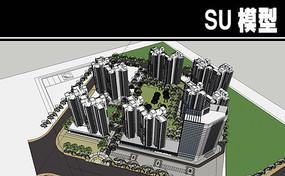 北京白色高层小区模型