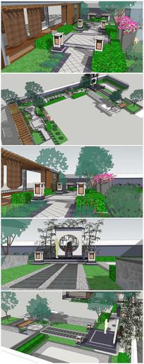 别墅小庭院景观设计SU模型