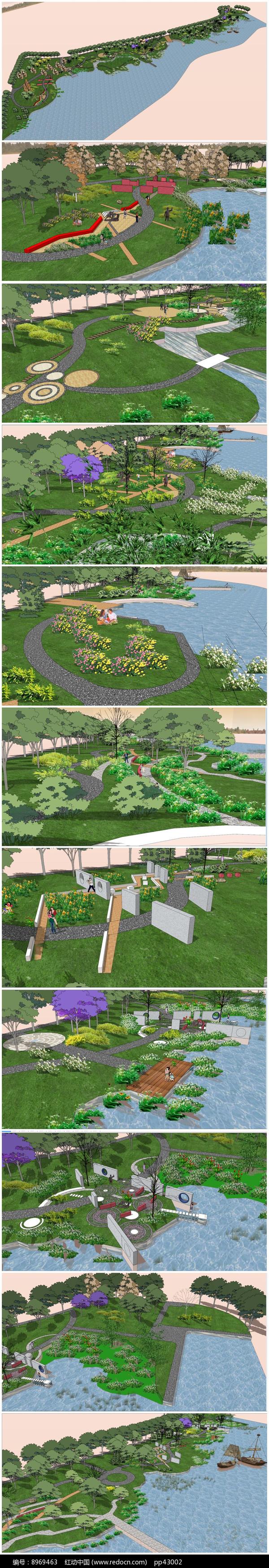 滨水公园景观SU模型图片