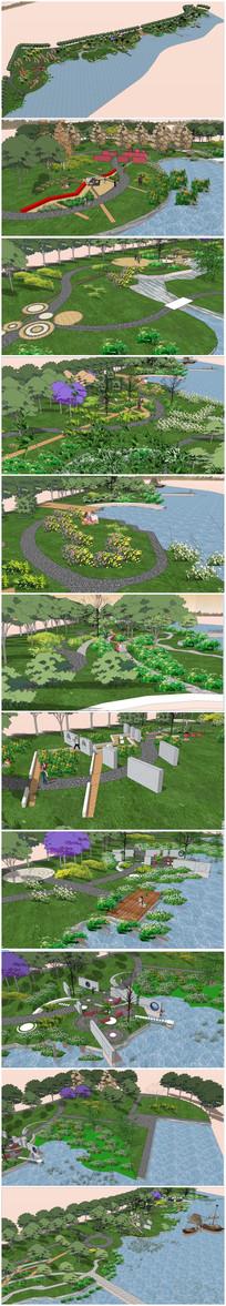 滨水公园景观SU模型