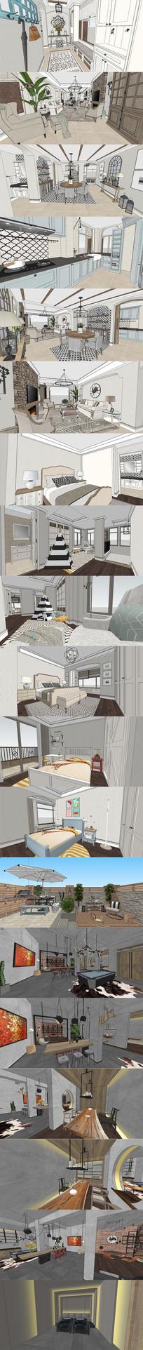 地中海复古住宅SU模型