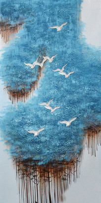 高清蓝色红树林海鸥油画玄关