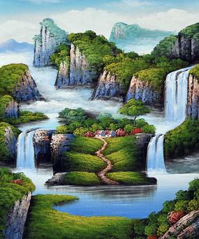 高山流水瀑布油画无框画