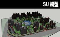 红黄相间20公顷住宅区模型