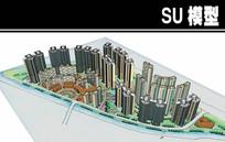 黄白玻璃相间高层住宅小区模型
