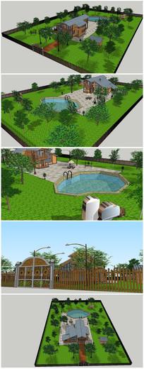 花园别墅SU模型素材